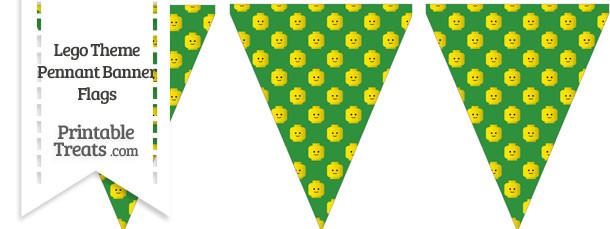 Green Lego Theme Pennant Banner Flag