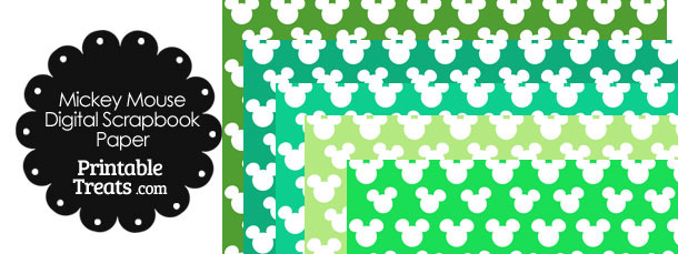 Green Mickey Mouse Head Digital Paper