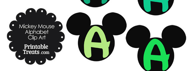 Green Mickey Mouse Head Letter A Clipart