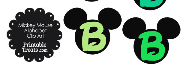 Green Mickey Mouse Head Letter B Clipart