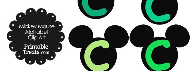 Green Mickey Mouse Head Letter C Clipart