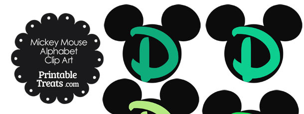 Green Mickey Mouse Head Letter D Clipart