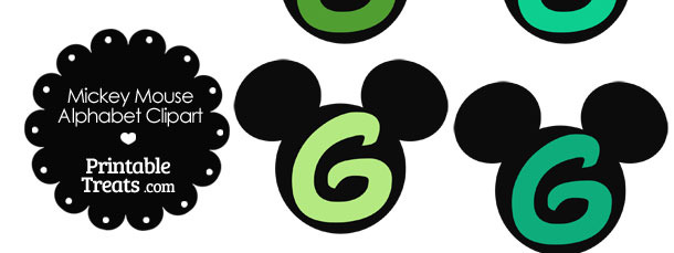 Green Mickey Mouse Head Letter G Clipart