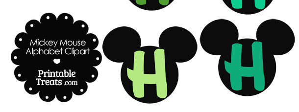 Green Mickey Mouse Head Letter H Clipart