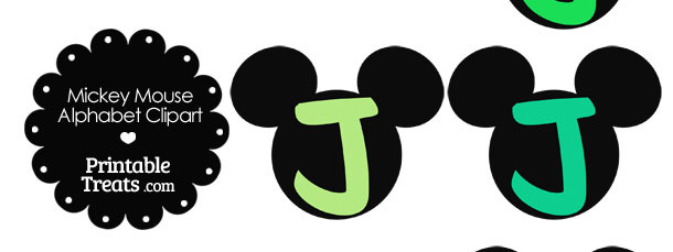Green Mickey Mouse Head Letter J Clipart