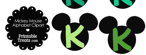 Green Mickey Mouse Head Letter K Clipart