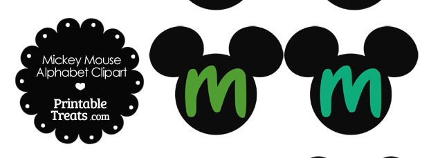 Green Mickey Mouse Head Letter M Clipart