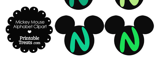 Green Mickey Mouse Head Letter N Clipart
