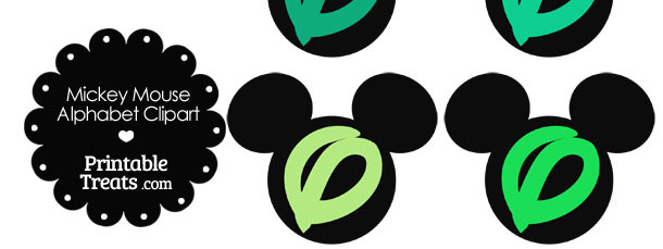 Green Mickey Mouse Head Letter O Clipart