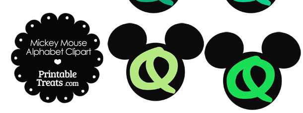 Green Mickey Mouse Head Letter Q Clipart
