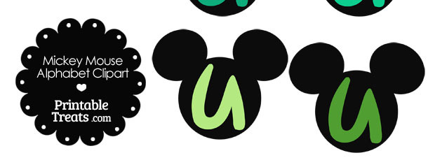 Green Mickey Mouse Head Letter U Clipart