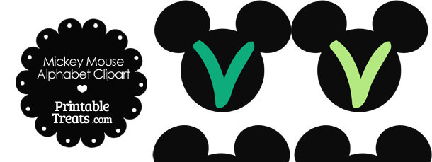 Green Mickey Mouse Head Letter V Clipart
