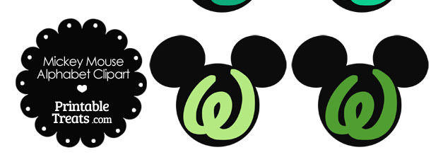 Green Mickey Mouse Head Letter W Clipart