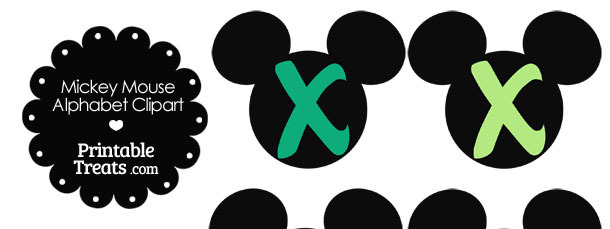 Green Mickey Mouse Head Letter X Clipart