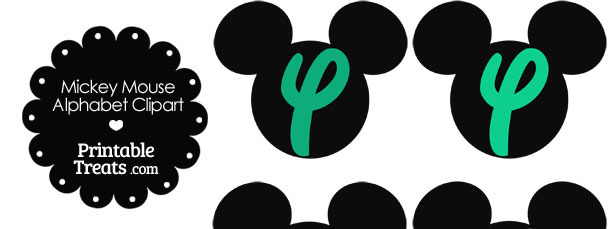 Green Mickey Mouse Head Letter Y Clipart