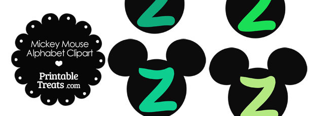 Green Mickey Mouse Head Letter Z Clipart