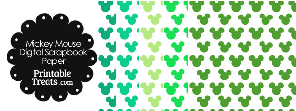 Green Mickey Mouse Head Scrapbook Paper