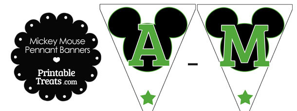 Green Mickey Mouse Pennant Banner Letters A-M