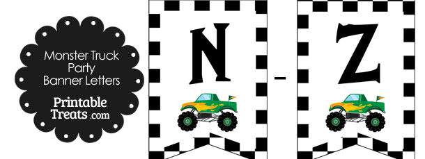 Green Monster Truck Banner Letters N-Z