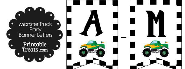 Green Monster Truck Birthday Bunting Banner Letters A-M