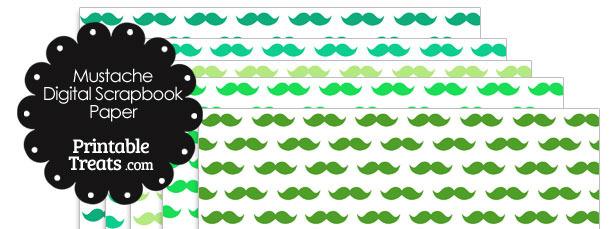 Green Mustache Digital Scrapbook Paper