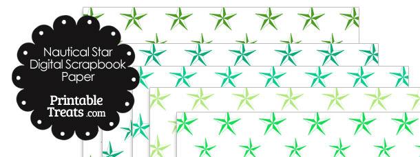 Green Nautical Star Digital Scrapbook Paper
