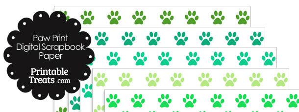 Green Paw Print Digital Scrapbook Paper