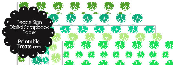Green Peace Sign Digital Scrapbook Paper