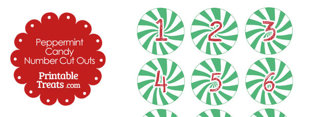 Green Peppermint Candy Number Cut Outs