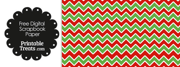 Green Red and White Chevron Digital Paper