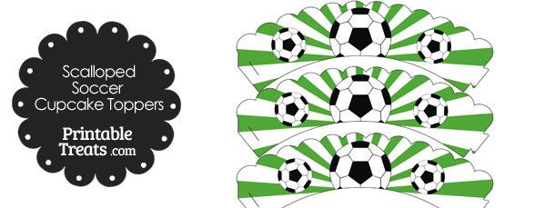 Green Scalloped Sunburst Soccer Cupcake Wrappers