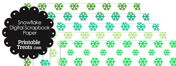 Green Snowflake Digital Scrapbook Paper