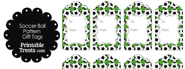Green Soccer Ball Pattern Gift Tags