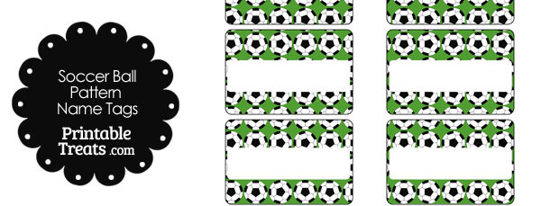 Green Soccer Ball Pattern Name Tags
