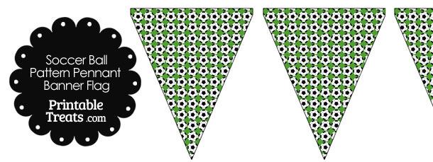Green Soccer Ball Pattern Pennant Banner Flag