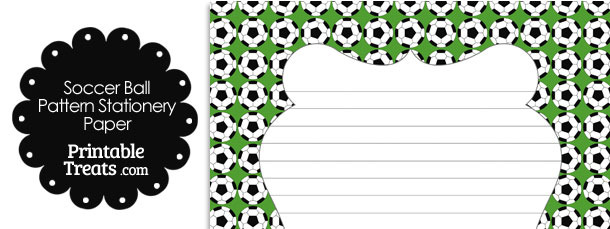 Green Soccer Ball Pattern Stationery Paper