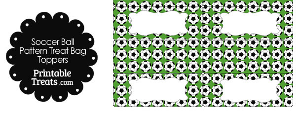 Green Soccer Ball Pattern Treat Bag Toppers