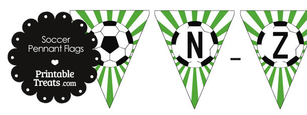 Green Soccer Party Flag Letters N-Z