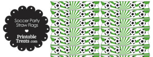Green Soccer Party Straw Flags