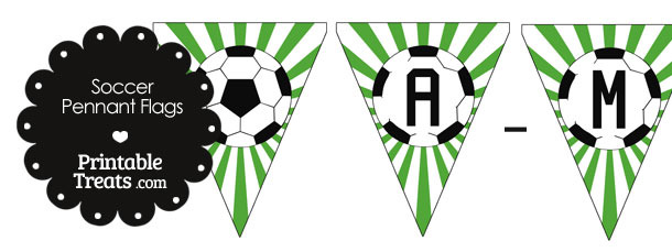 Green Soccer Pennant Banner Flag Letters A-M