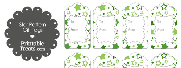 Green Star Pattern Gift Tags