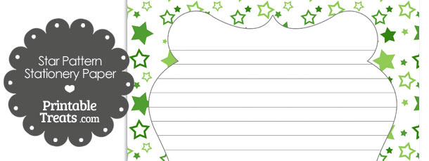 Green Star Pattern Stationery Paper