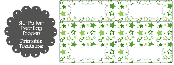 Green Star Pattern Treat Bag Toppers