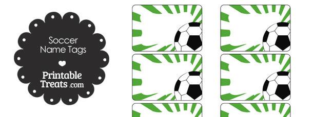 Green Sunburst Soccer Name Tags