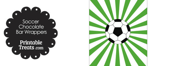 Green Sunburst Soccer Party Candy Wrappers