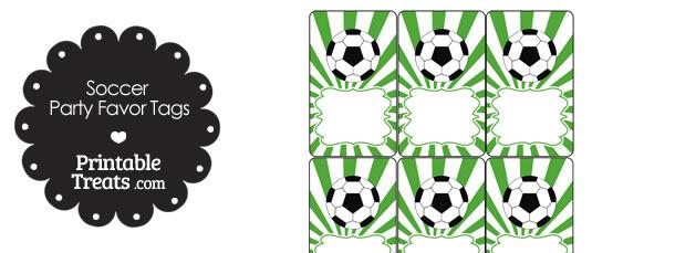Green Sunburst Soccer Party Favor Tags