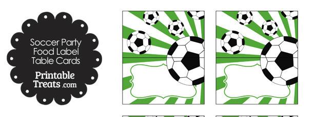 Green Sunburst Soccer Party Food Labels