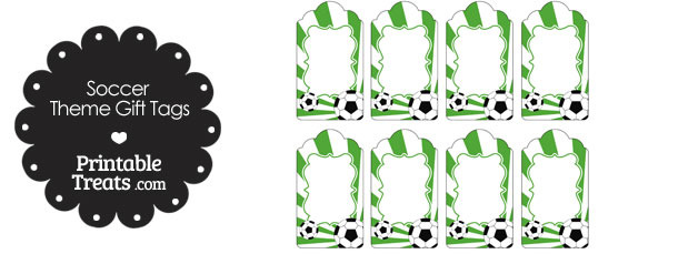 Green Sunburst Soccer Party Gift Tags