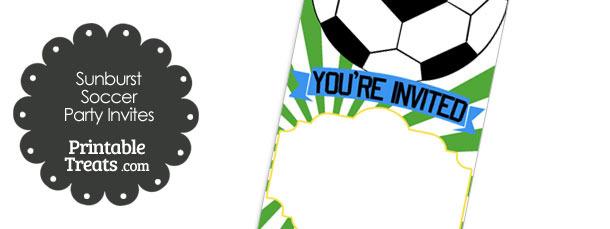 Green Sunburst Soccer Party Invites