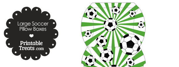 Green Sunburst Soccer Party Large Pillow Boxes